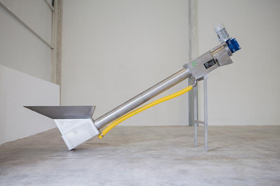 Sinfín compactador para lodos de la centrífuga